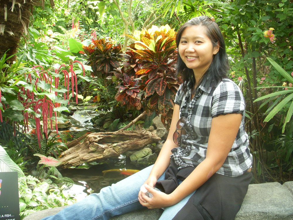 Mai in the butterfly garden