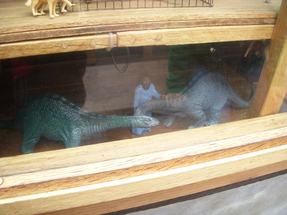 here were dinosaurs on the ark according to the model in kiddieland.
