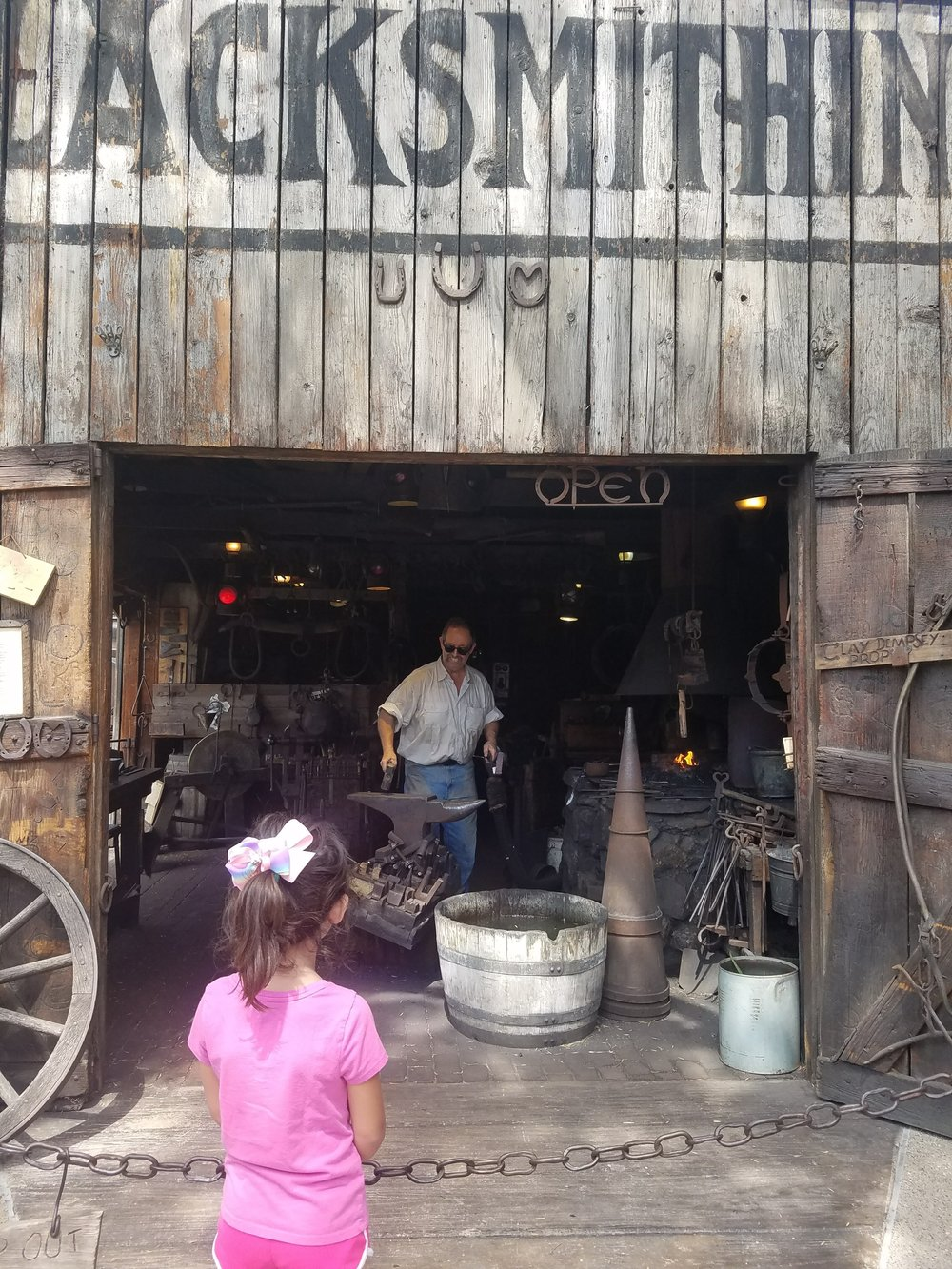 Taking in the local blacksmith.