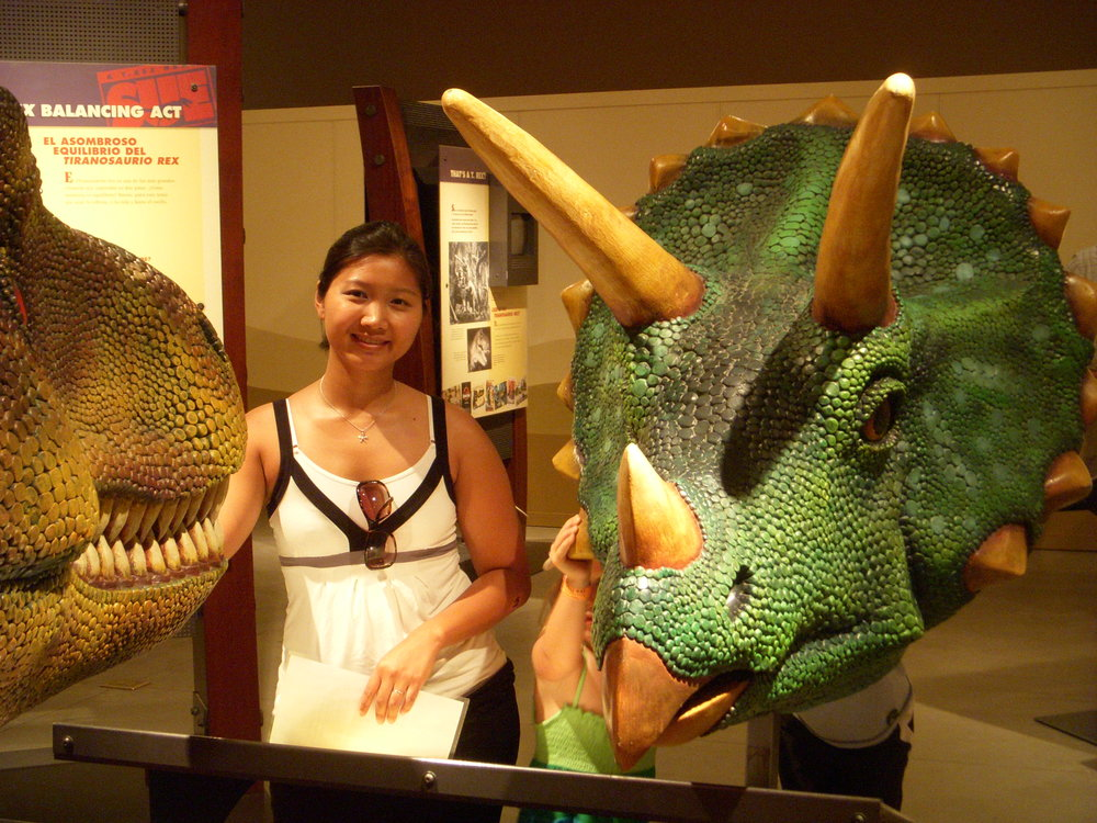 Mai and a triceratops