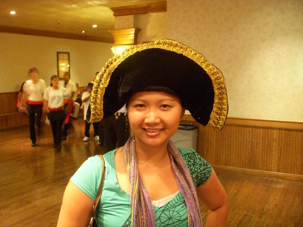 Mai in a pirate hat