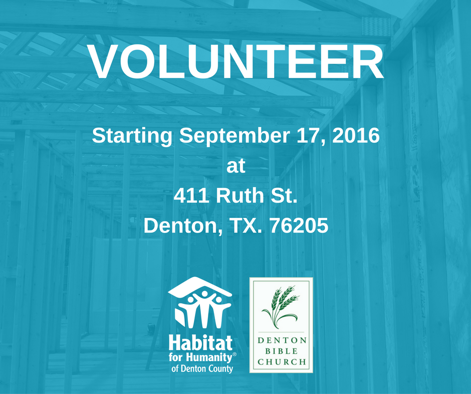 Volunteer with Habitat for Humanity of Denton County and Denton Bible Church