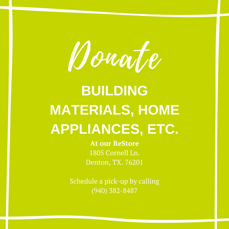 Donate building materials, home appliances, etc.