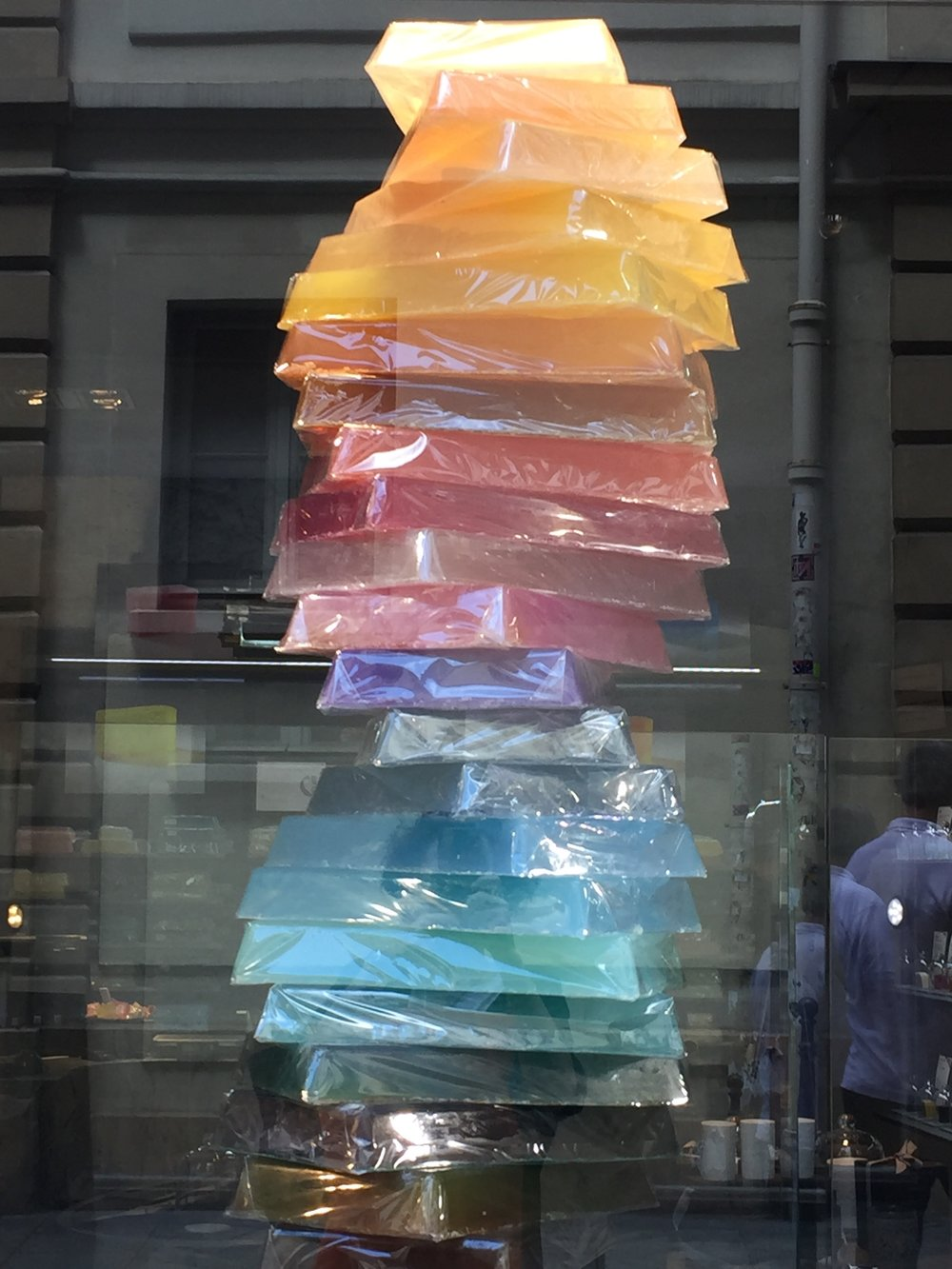 A fun display of colorful soap tablets - Comptoir des Savonniers in Le Marais, Paris