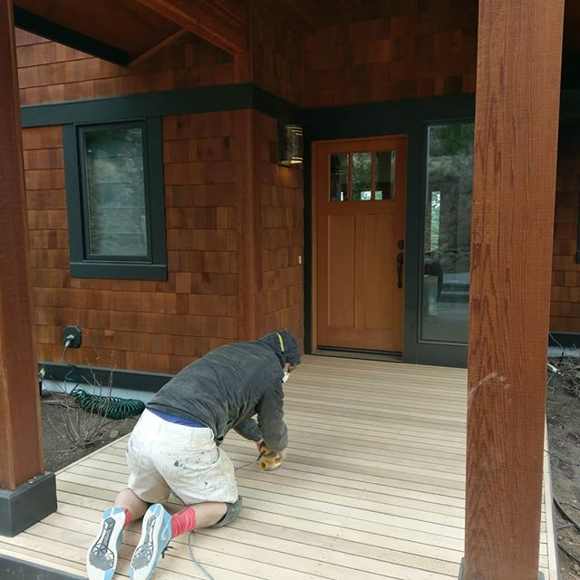 Get bae what she really wants for Valentine's Day. A freshly stained front deck!  Swipe to see it finished. #deckstaining #sikkens
