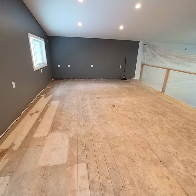 Swipe to see our progress on this 2x6 tongue and grove pine floor for @carrickcustoms shop loft!