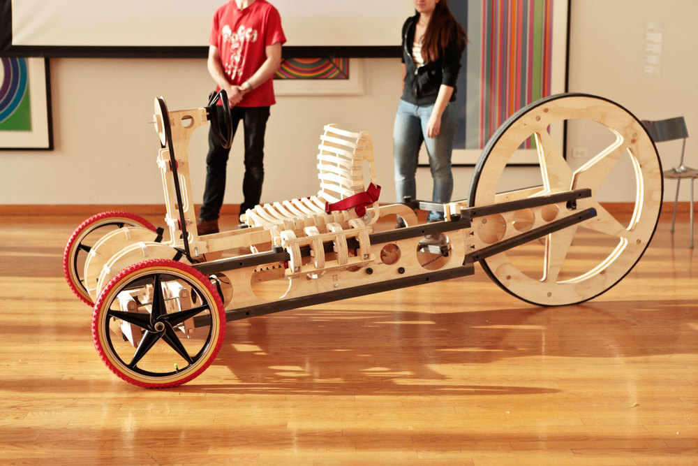 Brief  Develop an adult-size human-powered toy vehicle primarily with CNC-cut plywood /  Duration  3 months /  Team  Peter Zweifel + Gabriele Zelepos