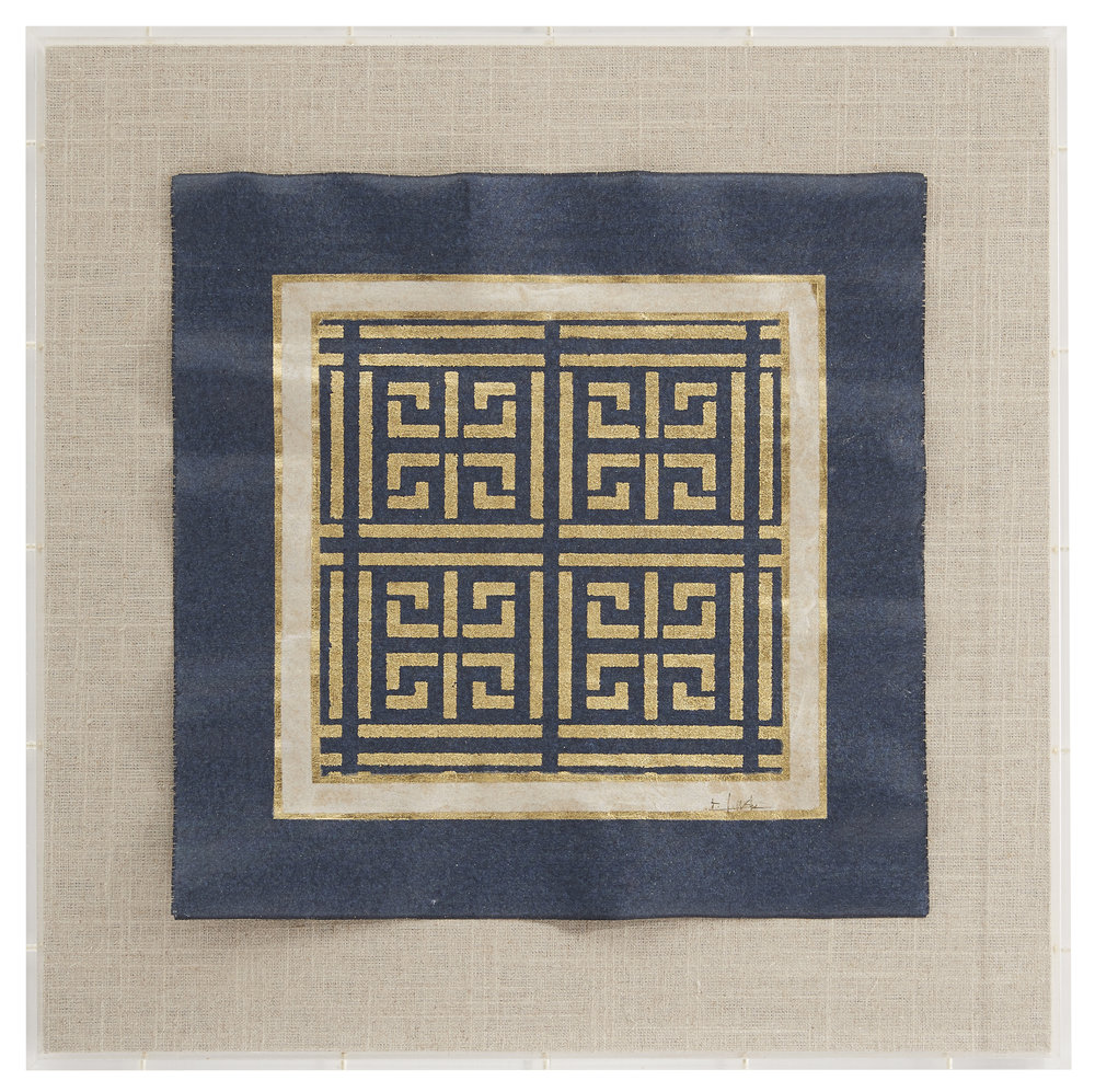 Greek Key in Navy with gold leaf