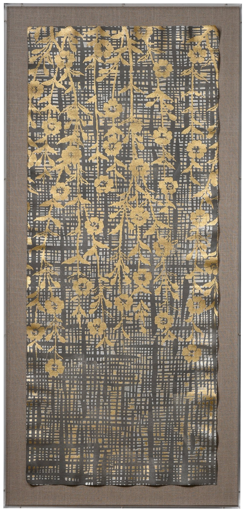 Cascade Floral in Slate with gold and silver leaf