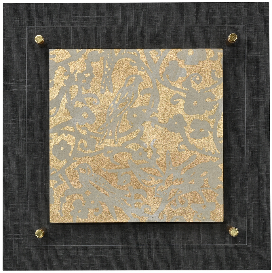 Birds and Blossoms in Mineral with gold leaf