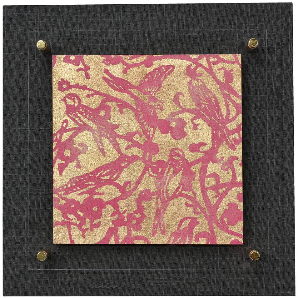 Birds and Blossoms in Magenta with gold leaf