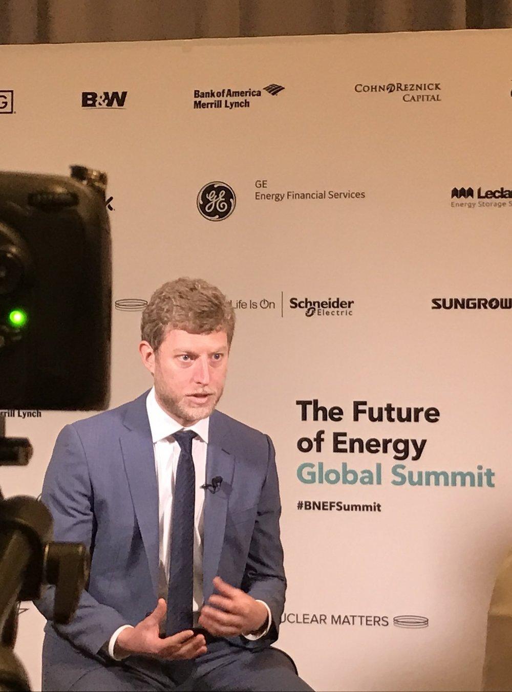 Ryan speaks to Bloomberg TV as SunFunder receives 2017 New Energy Pioneer award     24 April 2017, BNEF Summit, New York