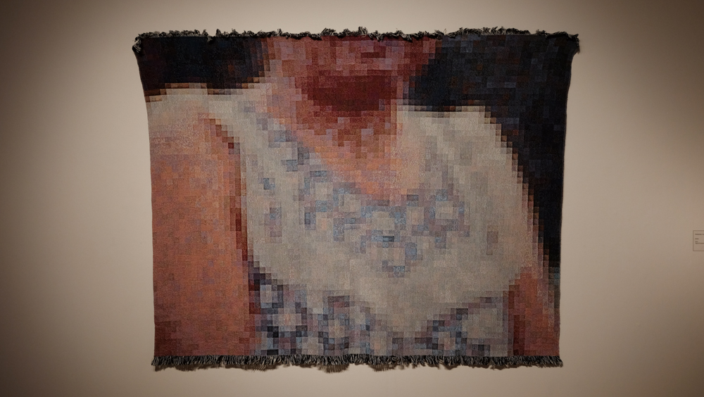 "Juana , 2015. Digital Jacquard weaving,80"" x 60"""