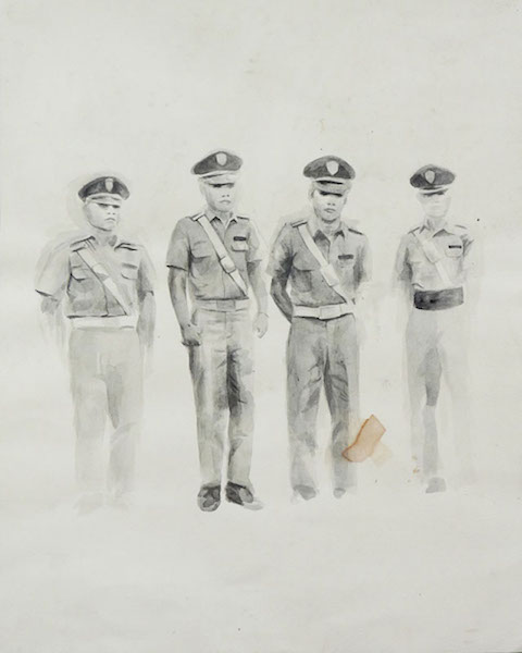 "Nicole Gervacio, ""four men"". Black pigment & tea, 16.5""x20.5""."