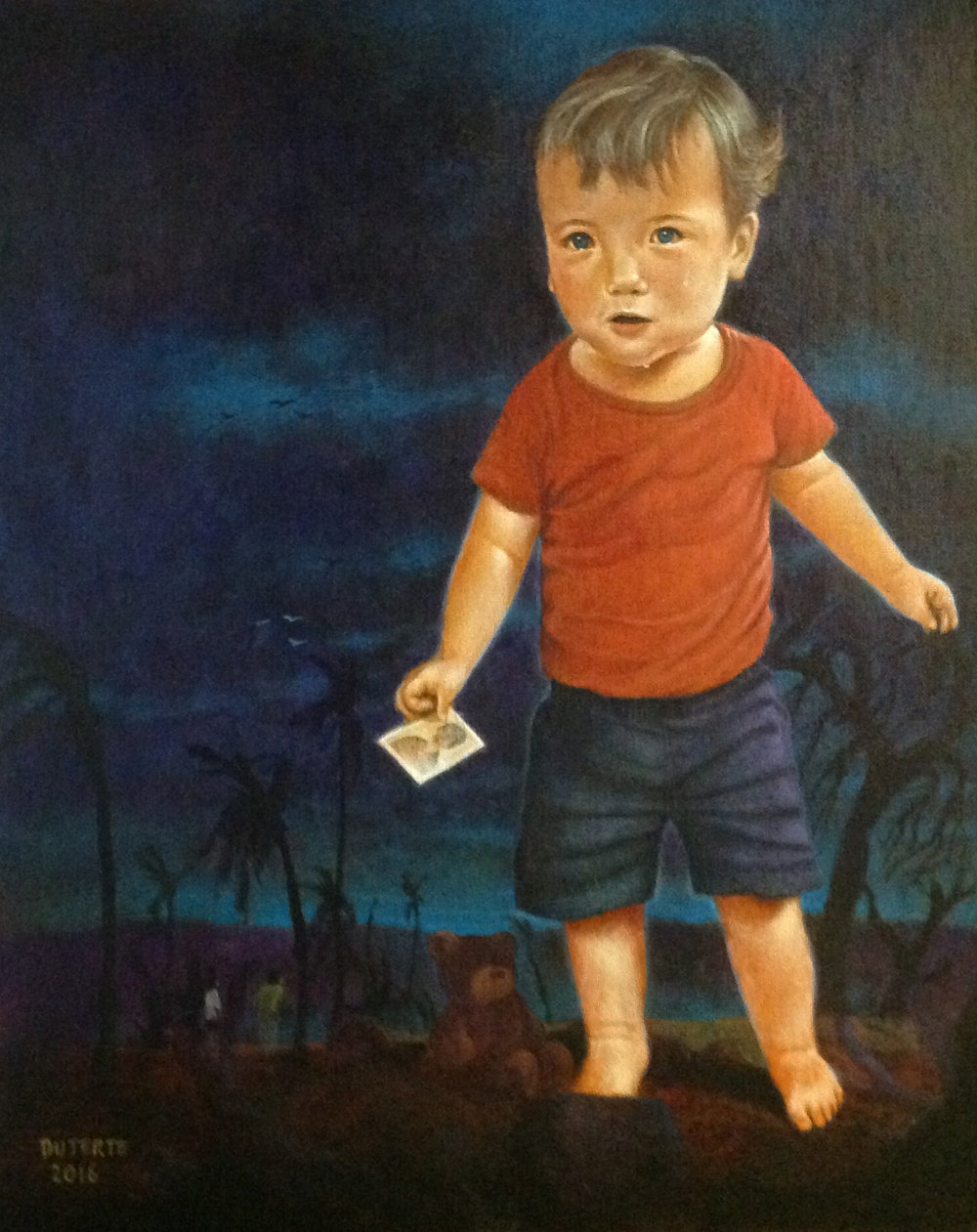 "Ulysses Duterte, After the Storm, 2016. Acrylic on canvas panel, 20""x16""."