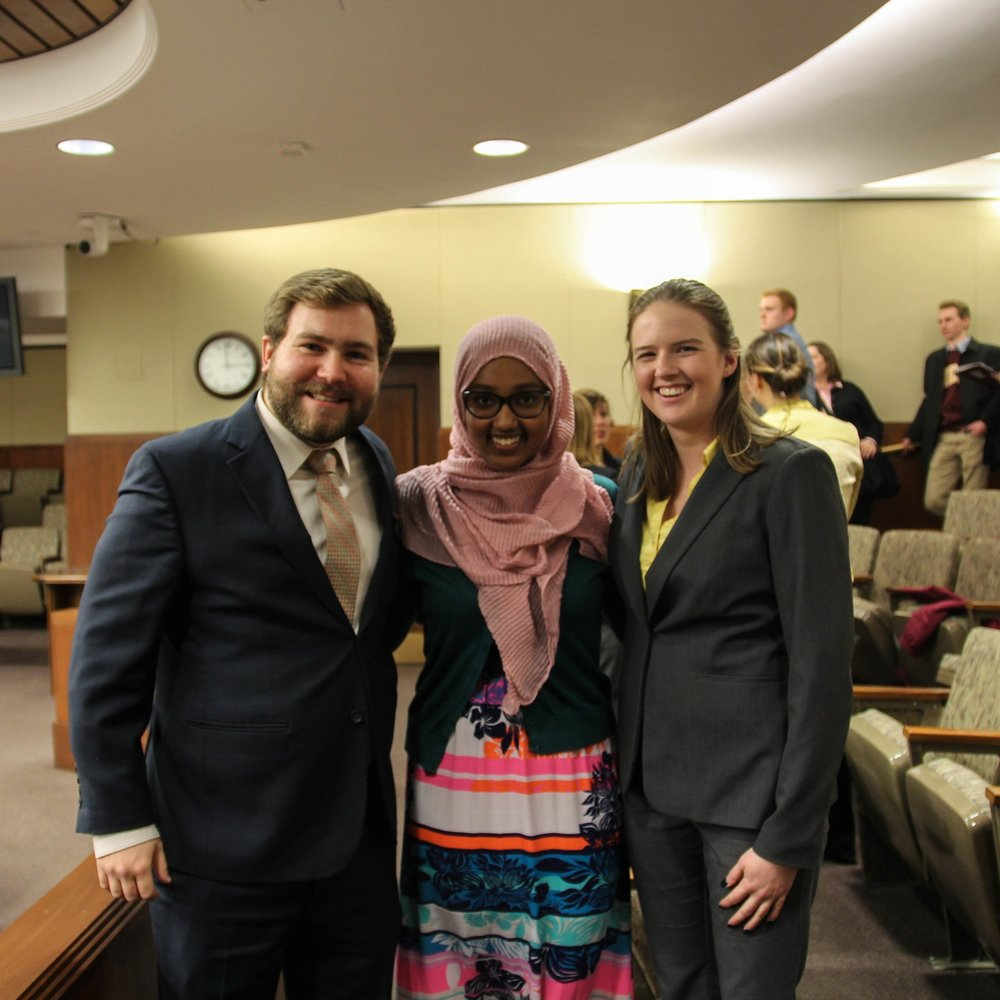 Photo of State Chair Wolf, Director Hussein, and MSCSA's President Nelson prior to their testimonies.