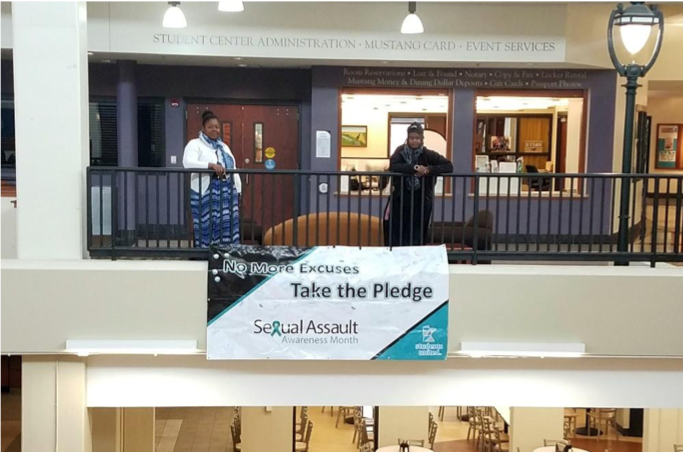 The  signed banner displayed in the Student Center