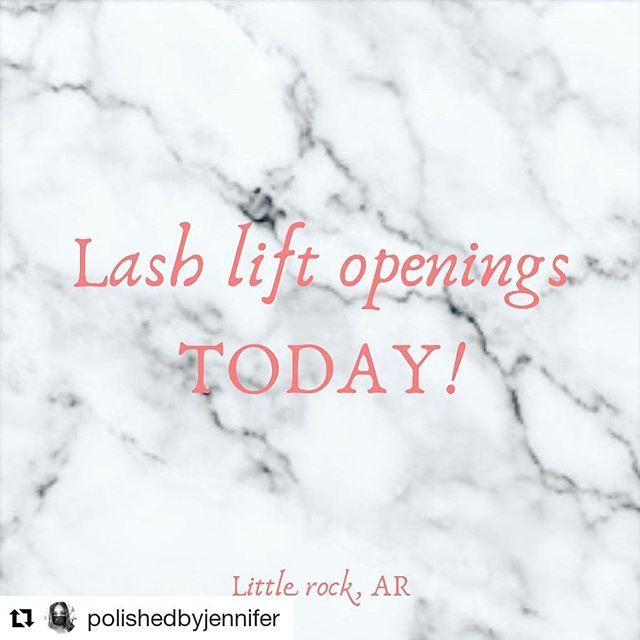 Hey ladies! We have lash lift openings today!!! #Repost @polishedbyjennifer (@get_repost) ・・・ LITTLE ROCK! Lash lift openings! A few spots left today. Call me for availability! #littlerockarkansas #littlerocklashes #lashlifts #polished #polishedbyjennifer #BlueRoseBeauty #blueosebeauties #blueroseartistry THANKSGIVING IS IN TWO WEEKS! Get holiday ready!