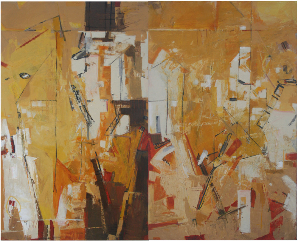 "HIGHLINE - DIPTYCH 60"" x 48"" x 2"" Acrylic on Canvas"