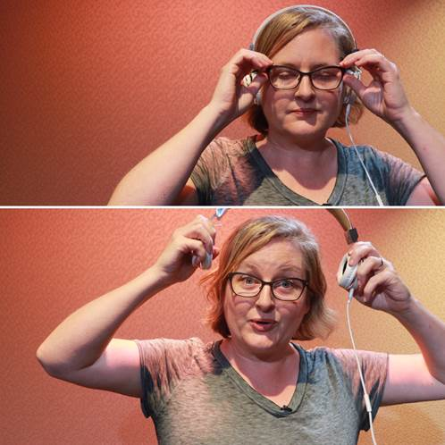 Tanya Eby, before and after narrating for 17 hours