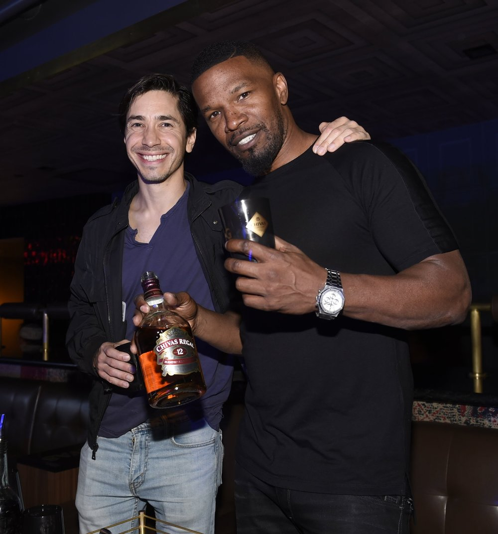 Jamie Foxx and Justin Long attend the CHIVAS Boxing Experience