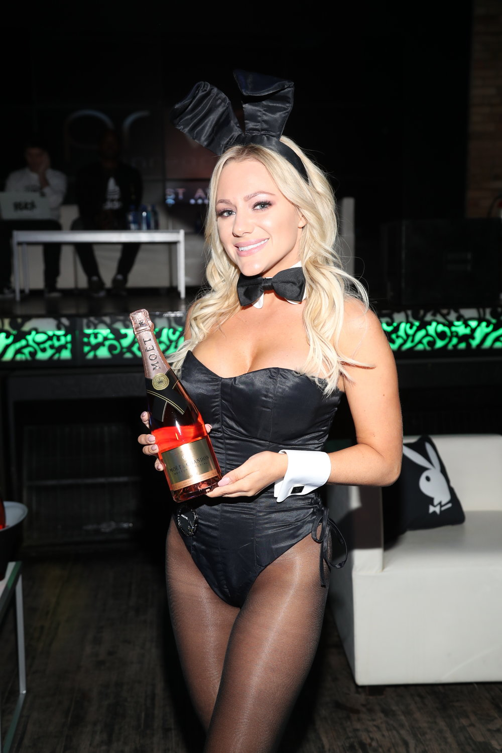 Playmate with Möet bottle