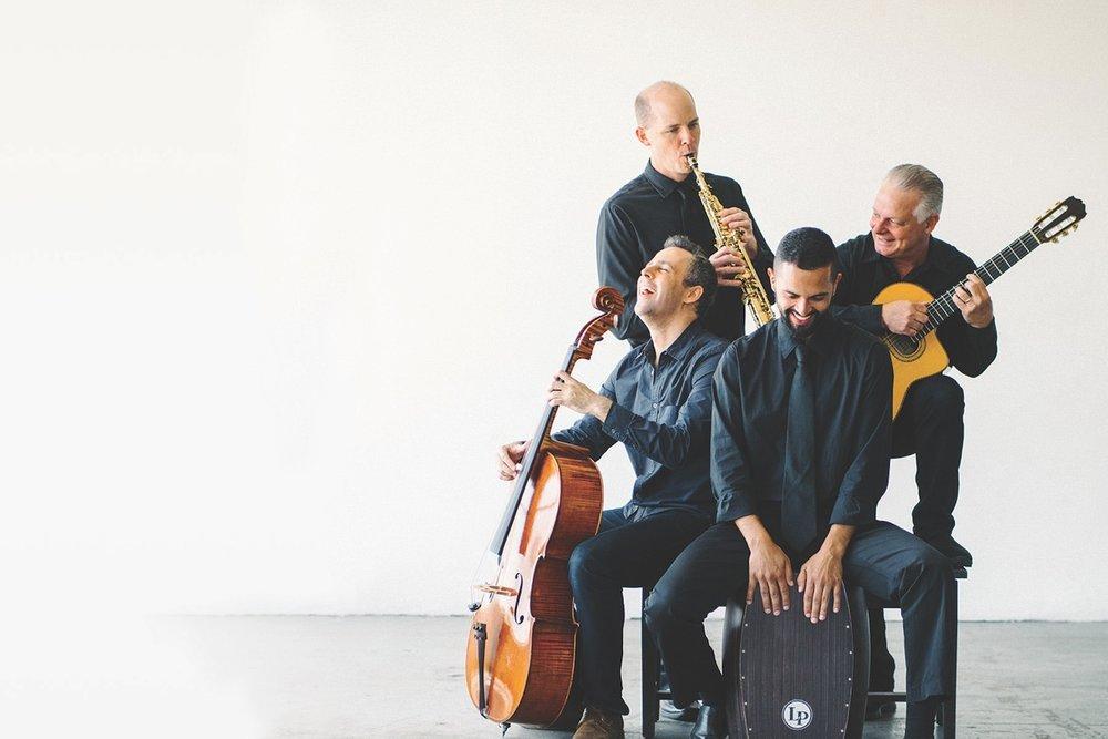 """""""一切有关爵士乐的事儿""""Quarteto Nuevo - 世界上最令人激动的爵士室内乐团之一。他们的音乐融合了西欧风,东欧民族风,拉美风还有爵士风。Quarteto Nuevo is one of the most exciting jazz fusion ensembles in the world, merging western classical, eastern European folk, Latin and Jazz.星期四/五2019年5月2 & 3@7:30 pmMay 2 & 3 @ 7:30 pm"""