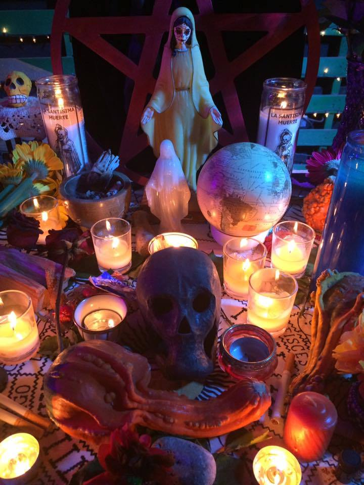 The altar to Santa Muerte at the Austin Witch Circle's Samhain celebration. Photo courtesy of the Austin Witch Cirlce