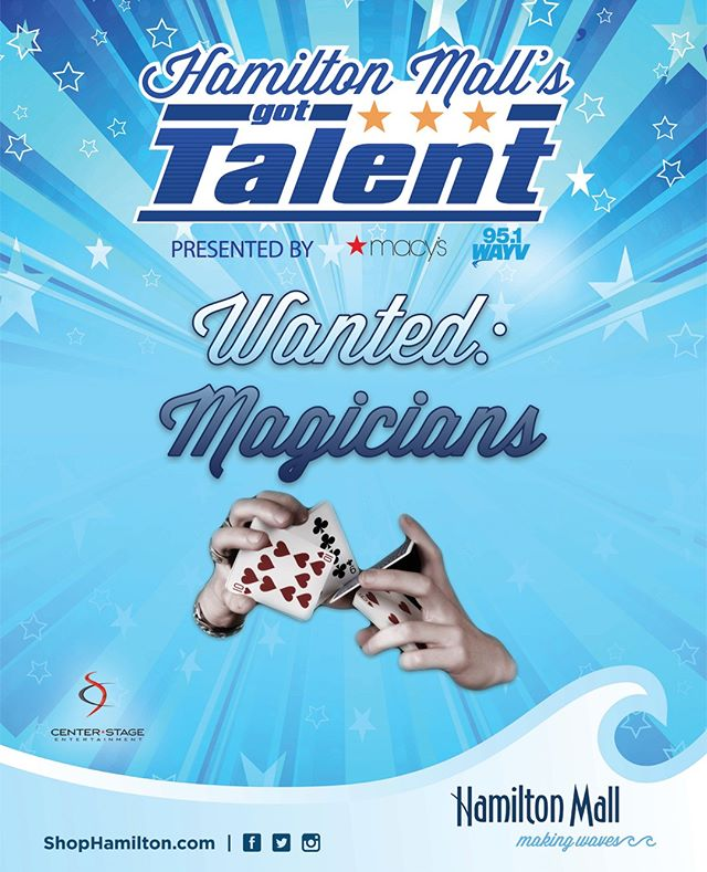 We're looking for magicians to compete this year. Know someone? Tag them! Link to sign up is in our bio! • • • • • #hamiltonmallsgottalent #hmgt #shophamiltonmall #gottalent #magic #magician