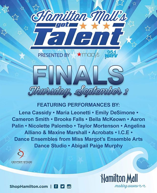 From over 100 VERY TALENTED performers, we're down to 16 all competing for the top prize of $1,500!!!!! You're not going to want to miss tomorrow night's Finals! They begin at 6:30, but get there early to make sure you have a seat. #shophamiltonmall #hmgt #hamiltonmallsgottalent