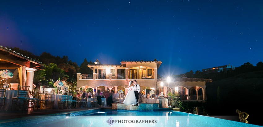 orange county wedding event planner couple kissing infront of venue