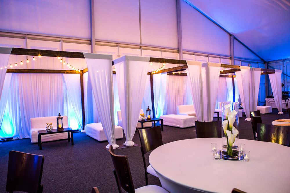 orange county corporate event planner wood cabanas with drapery