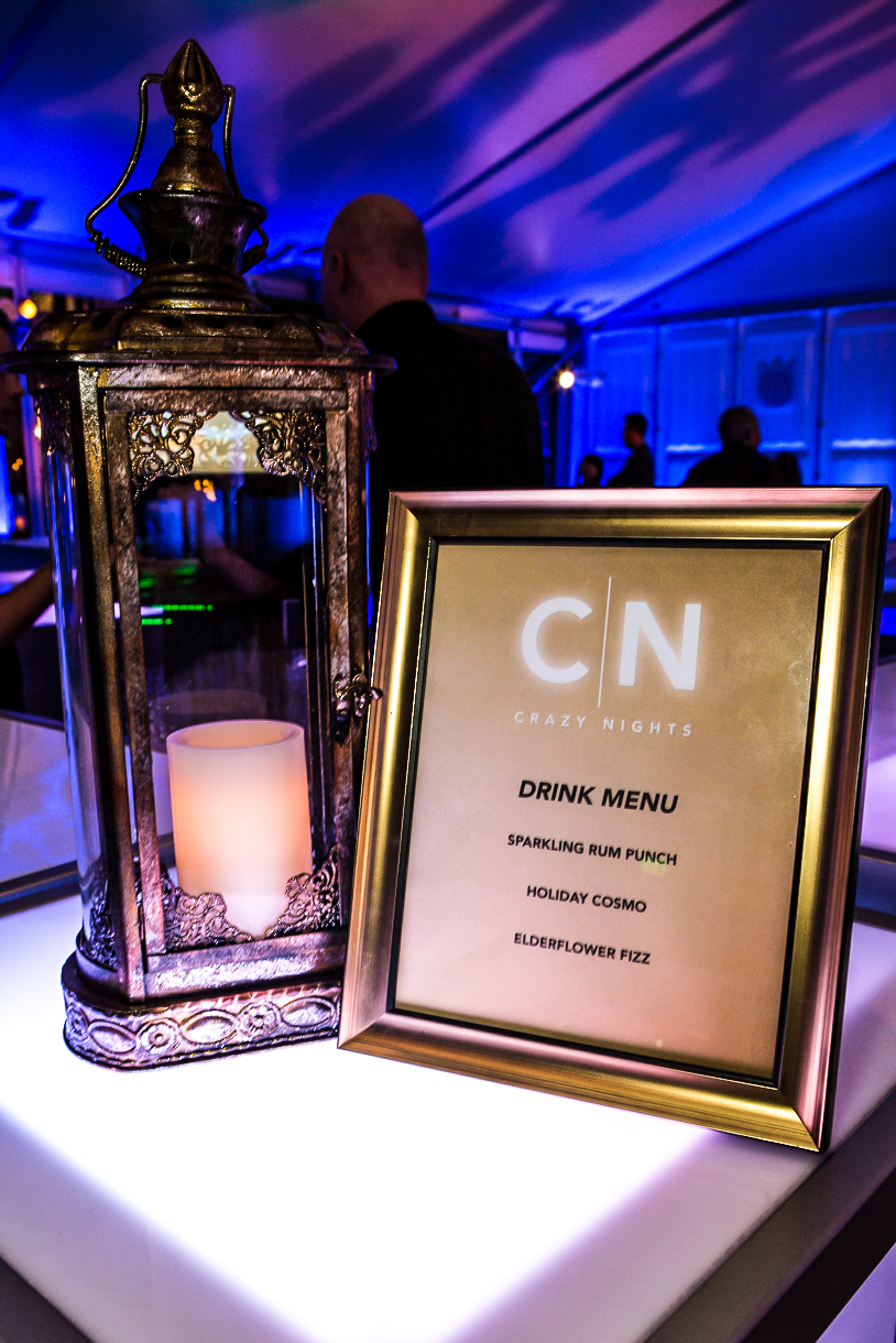 orange county corporate event planner custom drink menu and lantern