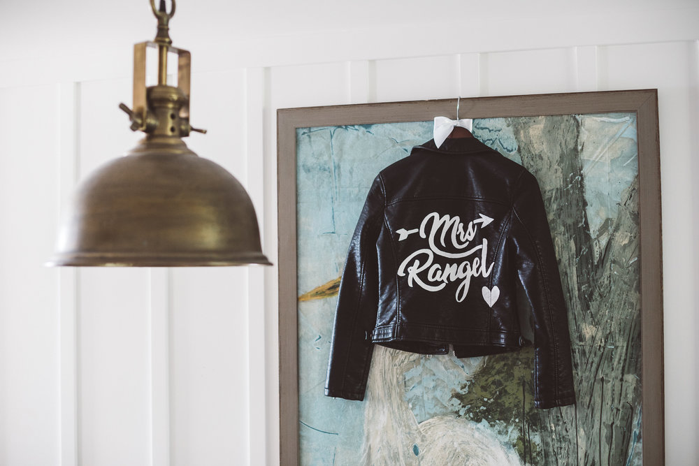 The Ranch Laguna Beach Wedding with a Custom Leather Monogram Bridal Jacket