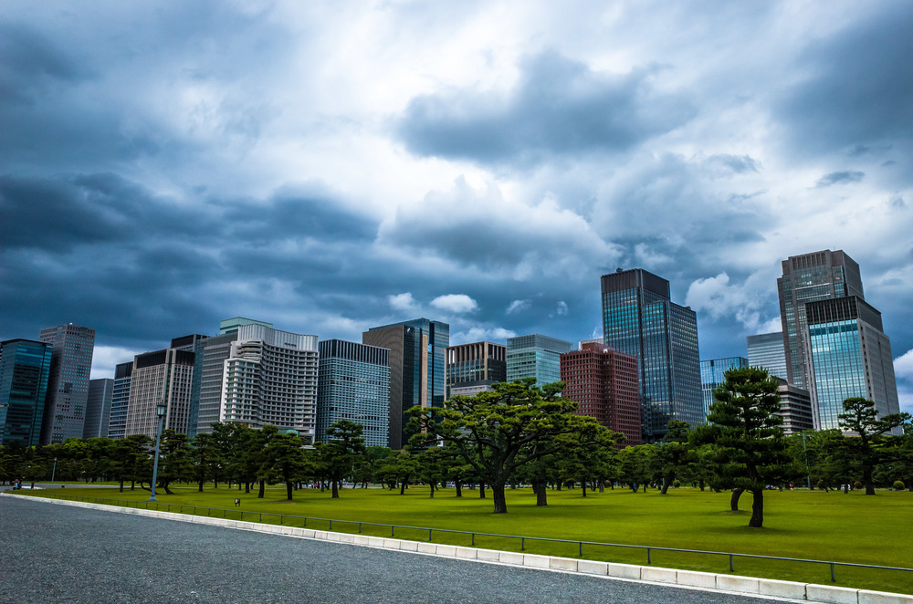 Storm clouds rushing to fill the sky over Tokyo