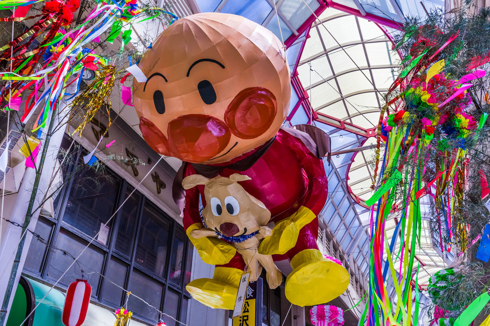 Anpanman at the Asagaya Pearl Center Shopping Arcade during Tanabata 2016
