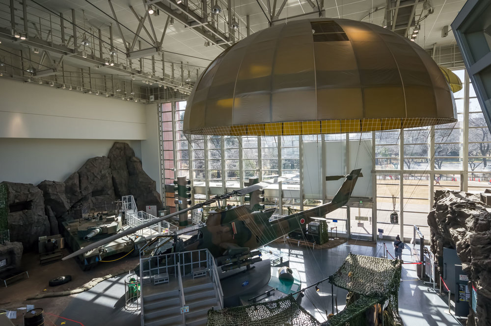 Inside the main building and on the main floor is a Type 90 main battle tank, a Bell AH-1 Cobra attack helicopter and other static displays