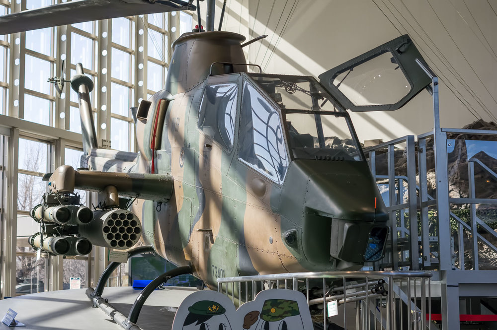 A closeup of the Bell AH-1 Cobra attackhelicopter