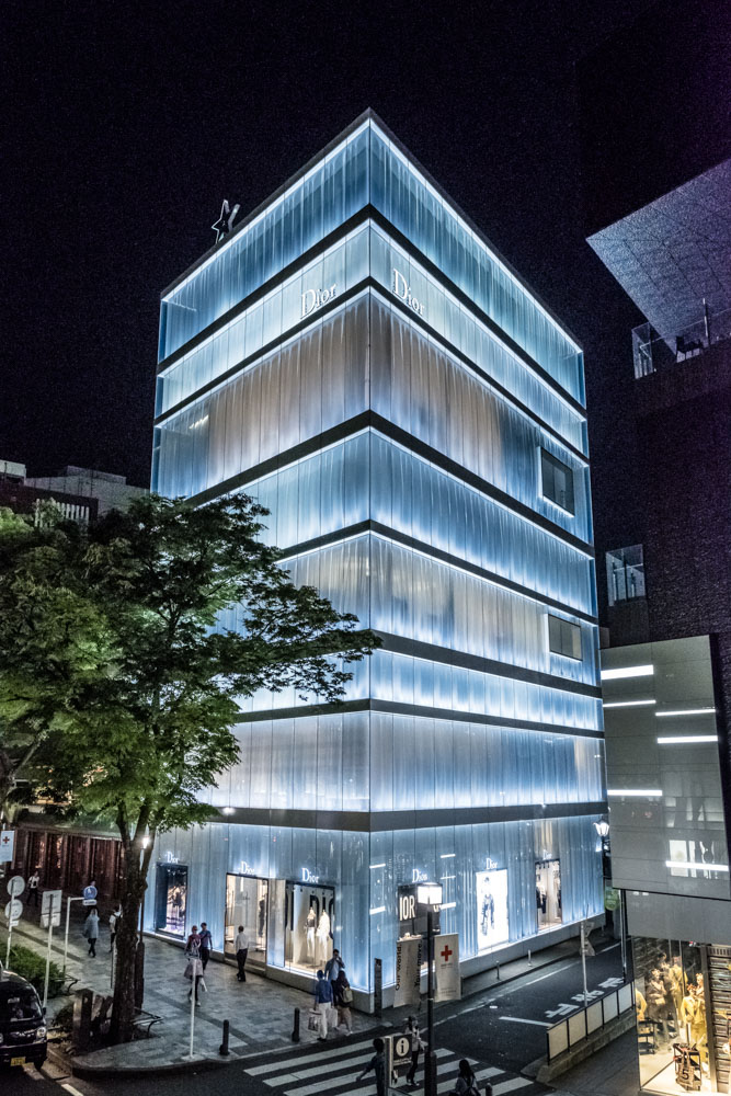An amazing light-filled building in Harajuku is that of Dior