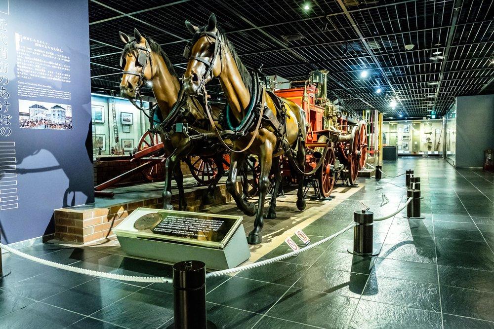 A horse-drawn fire engine