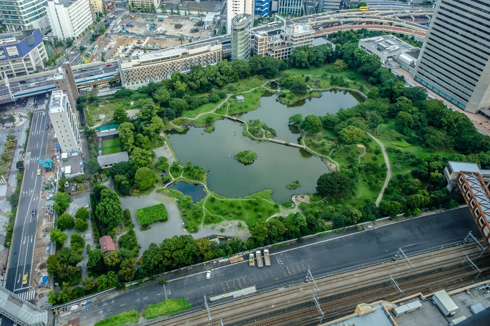 Kyu-Shiba Rikyu Gardens seen from the Seaside Top observatory in the World Trade Center building nearby