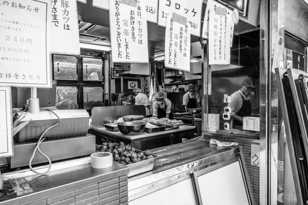 The stafff at Sato - a hugely popular butcher in Kichijoji