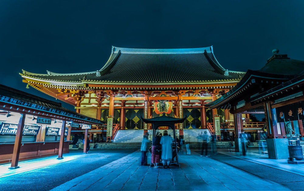 The main hall of Sensoji after dark