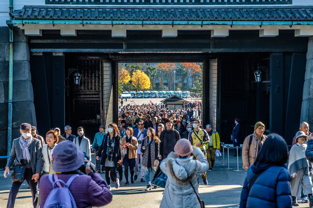 The crowd moves into the Imperial Palace through the Sakashita gate