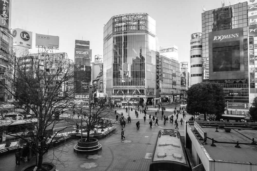 Shibuya crossing looking rather lonely in the morning
