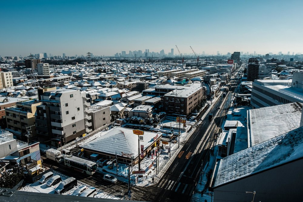 Tokyo covered in snow