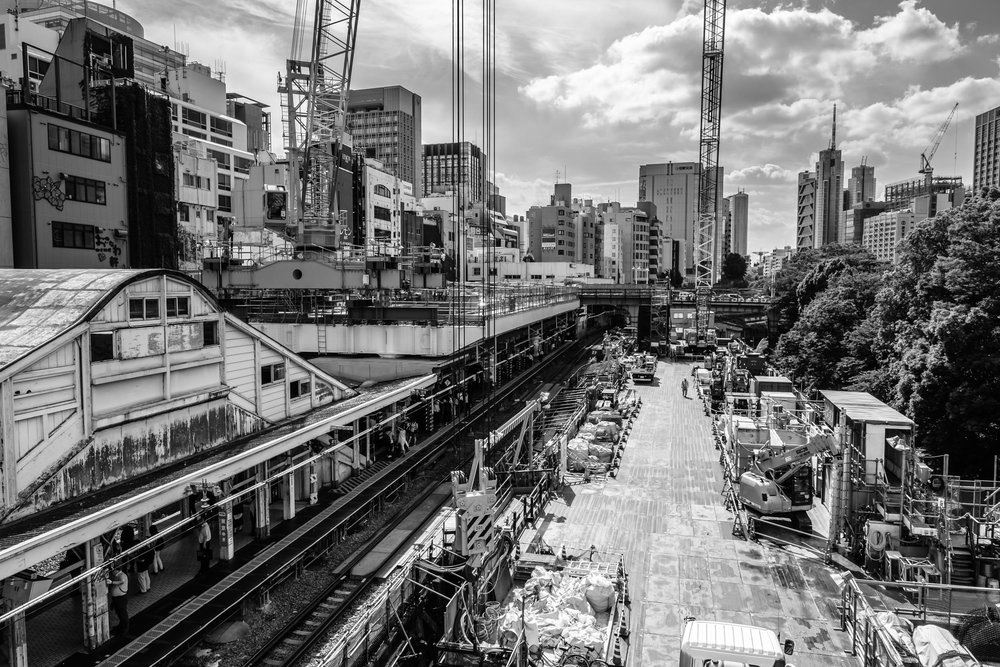 The Chuo line platform of JR Ochanomizu station with construction work next to it