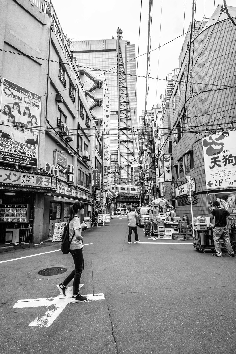 The cable-covered streets of Shinbashi