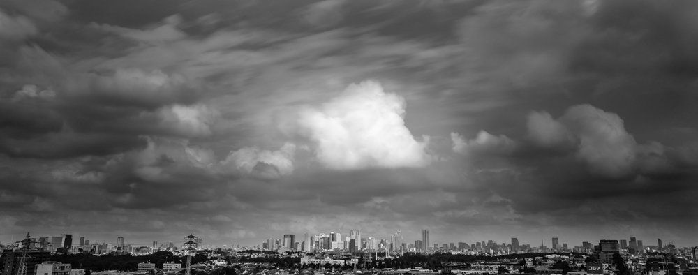 The Shinjuku skyline on a cloudy day