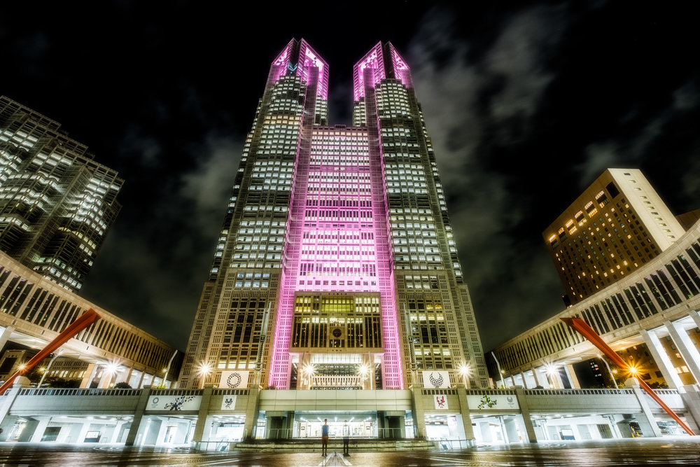 The Tokyo Metropolitan Government Building illuminated in pink for the Pink Ribbon Campaign